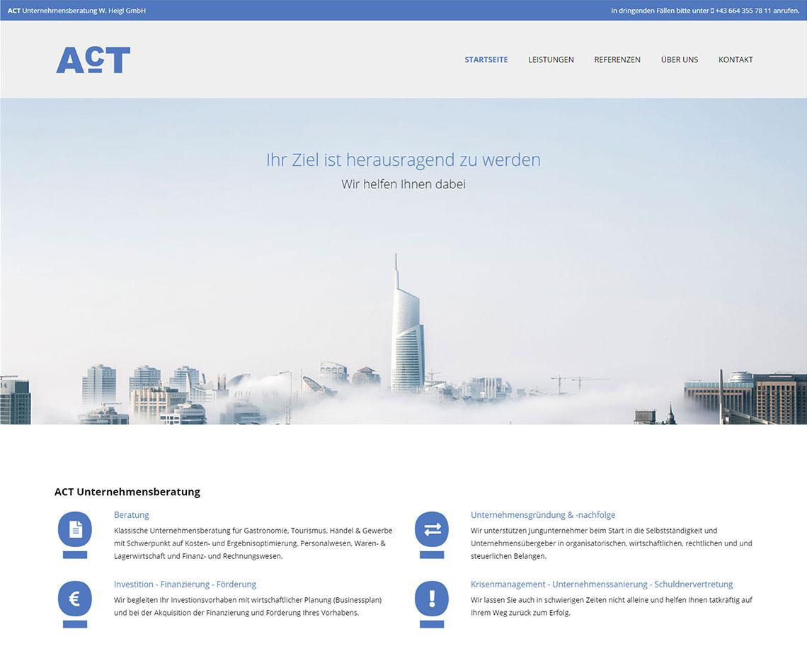 ACT Unternehmensberatung Website nach Redesign