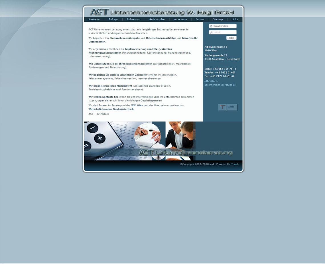 ACT Unternehmensberatung Website vor Redesign