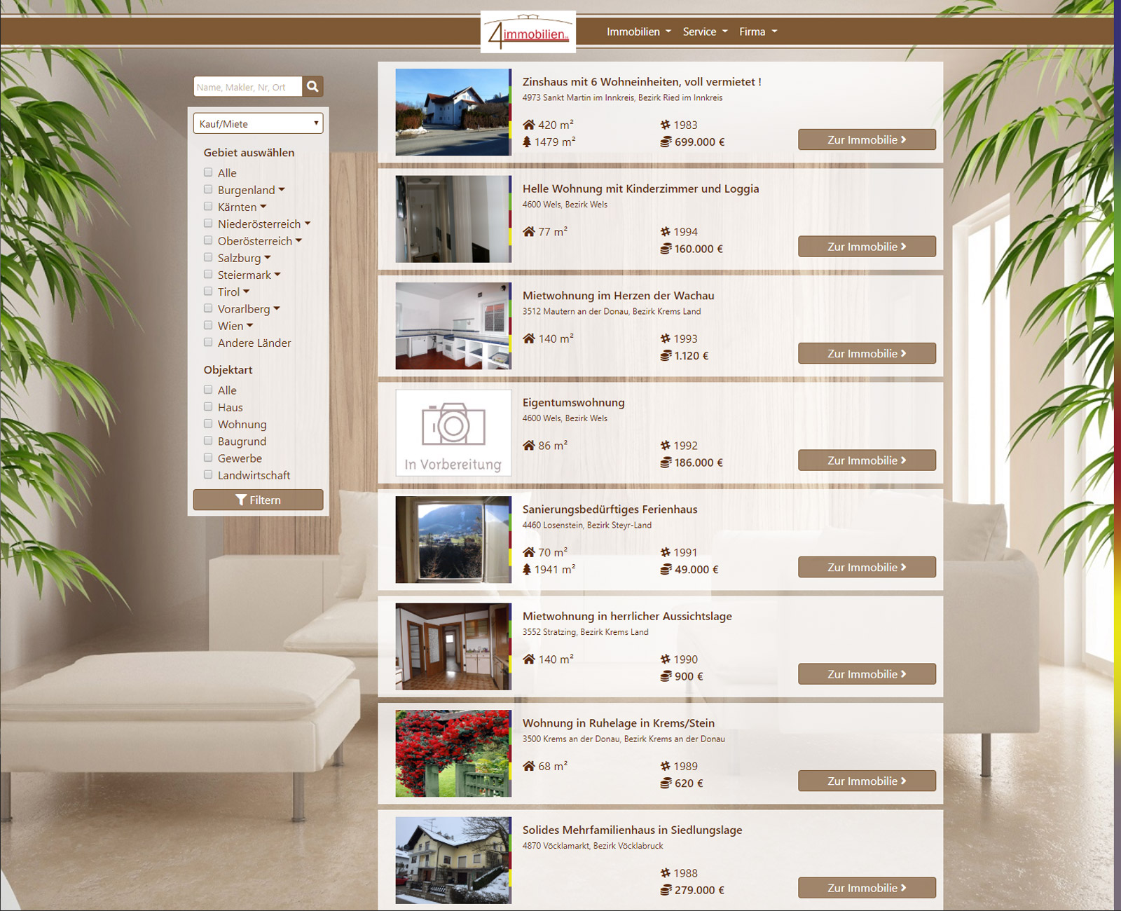 4immobilien Website vor Redesign
