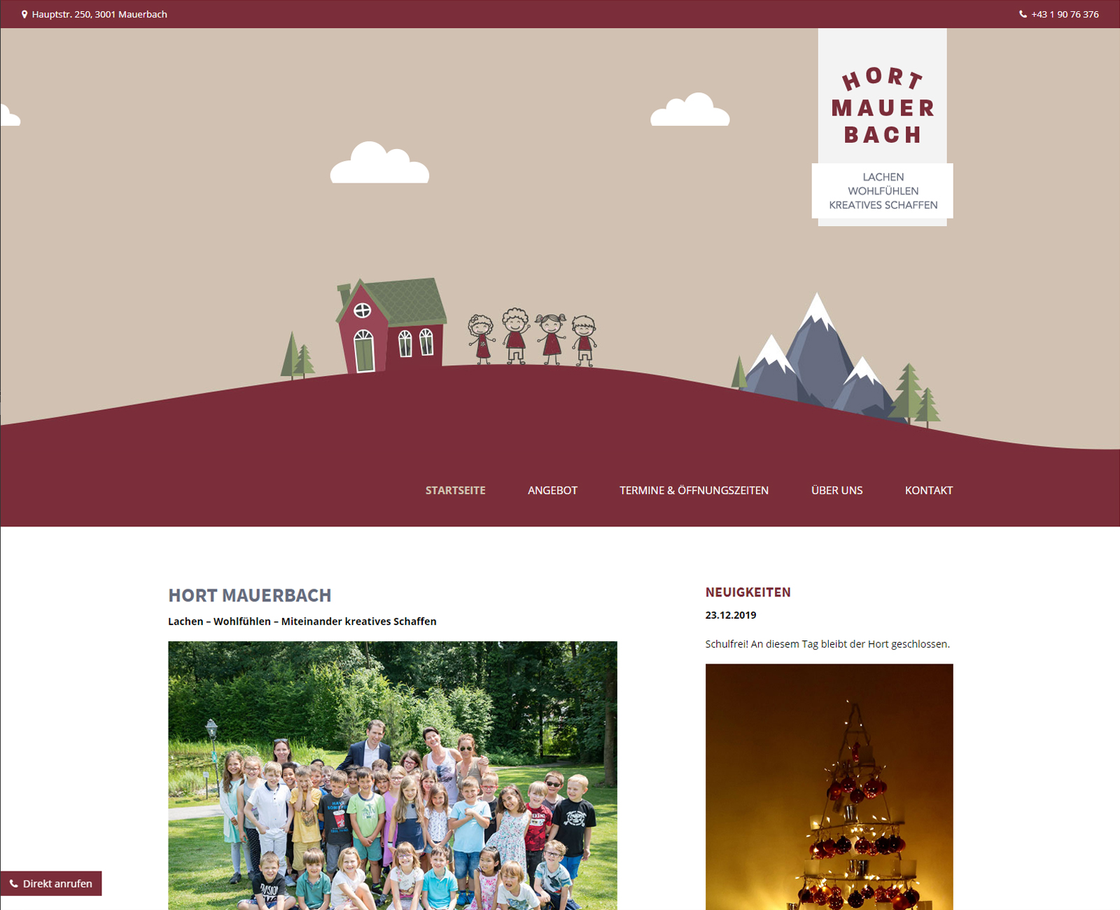 Hort Mauerbach Website nach Redesign