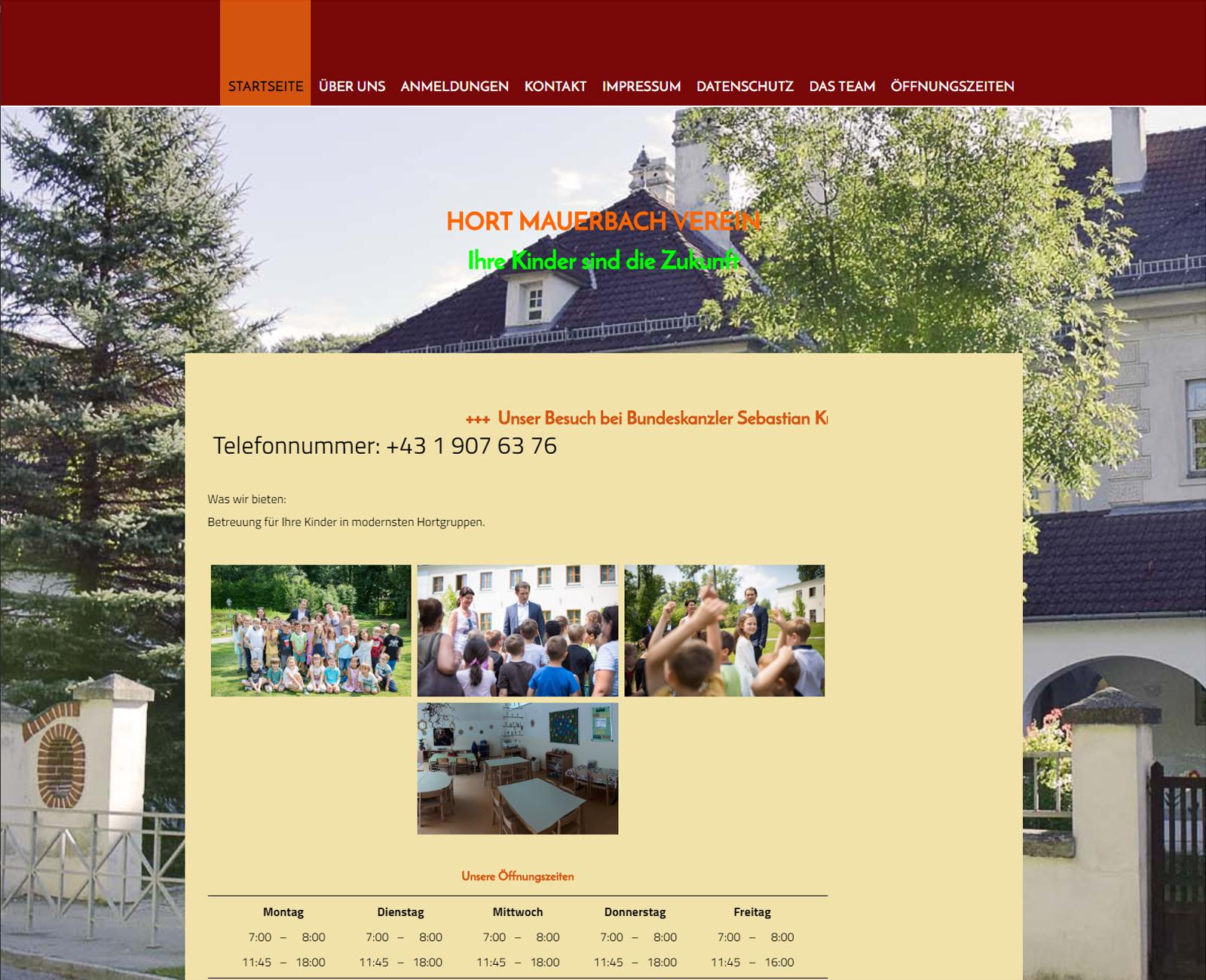Hort Mauerbach Website vor Redesign