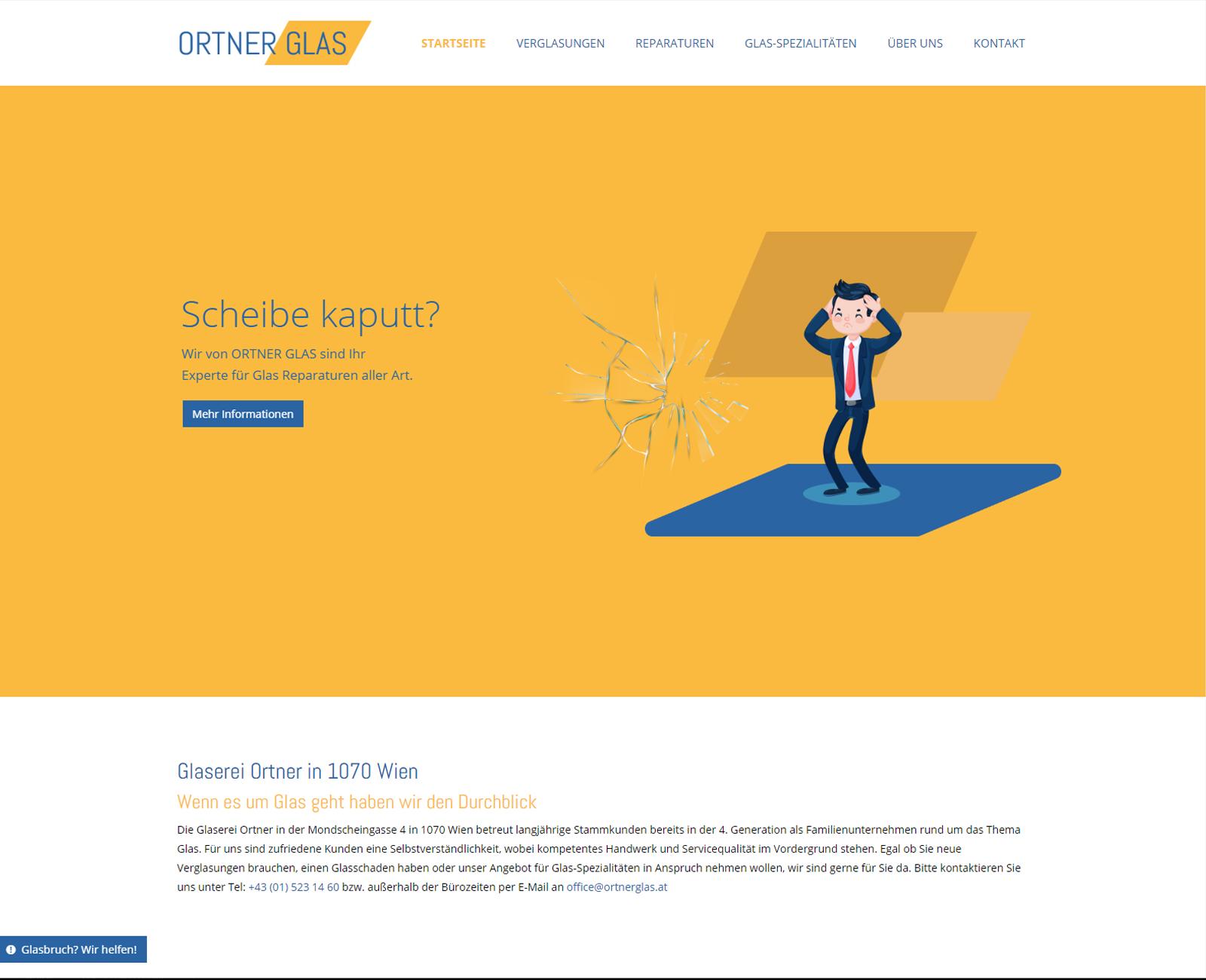 Ortner Glas Website nach Redesign