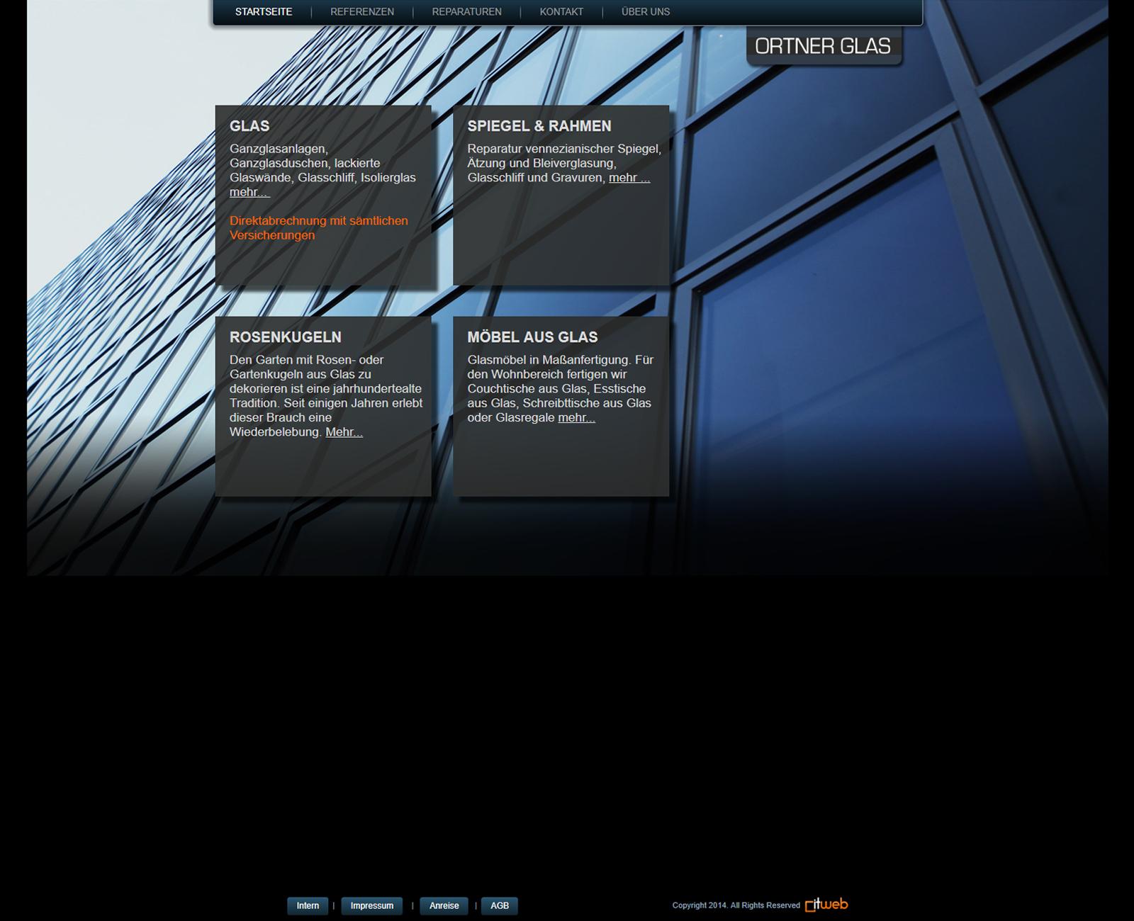 Ortner Glas Website vor Redesign
